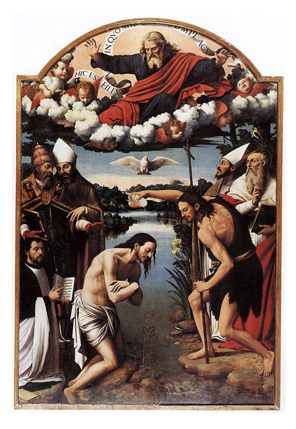 Bautismo de Cristo por Juan Bautista en el Jordán.