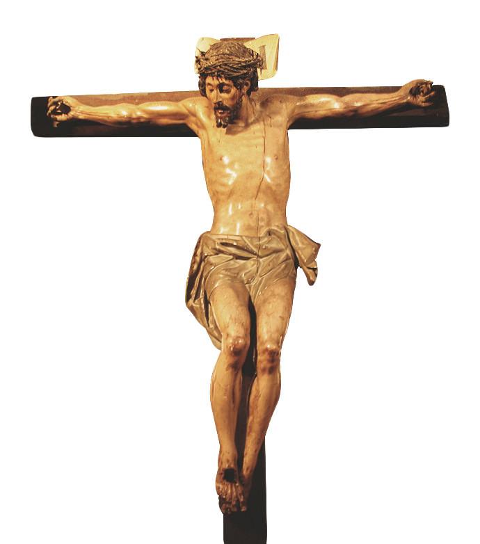 Cristo crucificado, escultura de madera policromada, estilo barroco castellano.