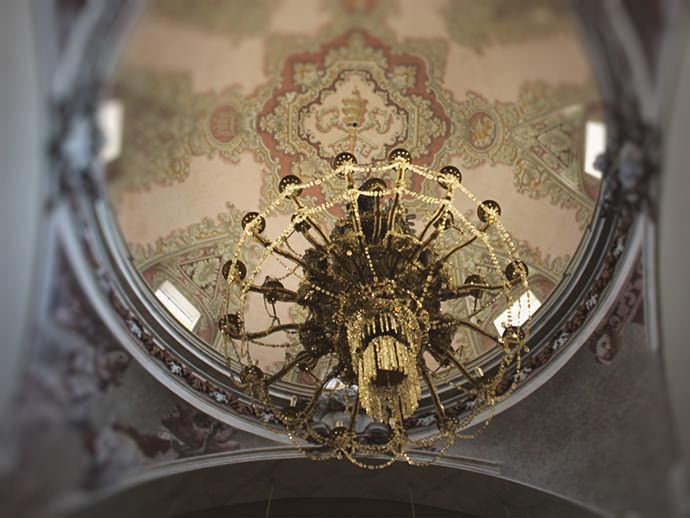 Lámpara de cristal de Murano traida de Roma.