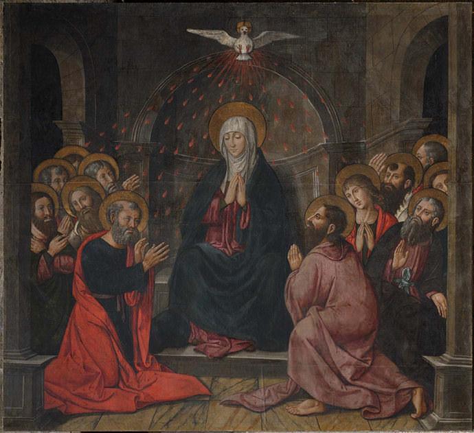 Venida del Espíritu Santo sobre los apóstoles reunidos en torno a María.
