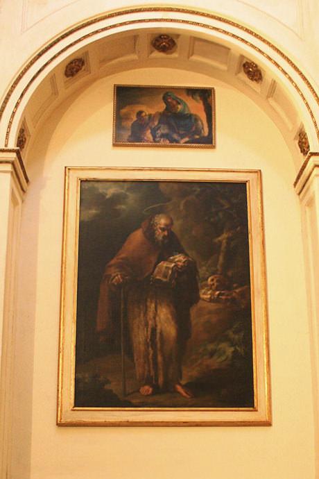 La Sagrada Familia huye a Egipto (arriba) y San Antonio Abad (debajo).