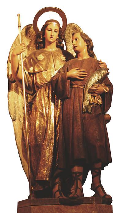 San Rafael, arcángel, acompañado por el joven Tobías.