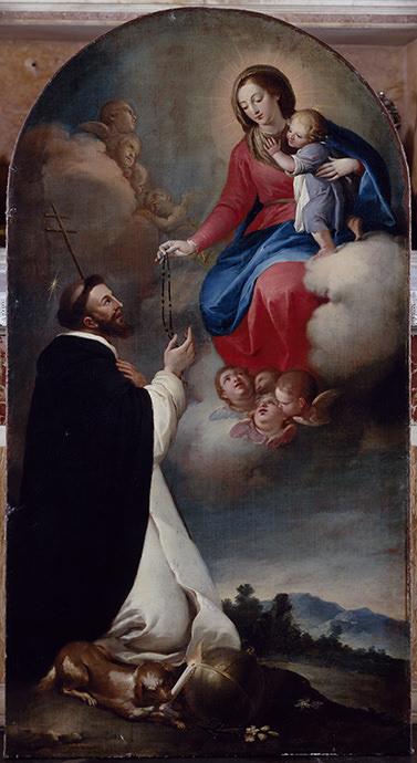 La Virgen entrega el Rosario a santo Domingo de Guzmán.